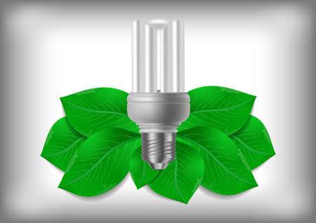 thrift: Ilustraci�n de la bombilla de bajo consumo con hojas verdes sobre fondo gris
