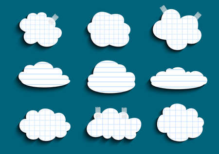 scotch: Illustration of checked and lined paper clouds with scotch on teal background