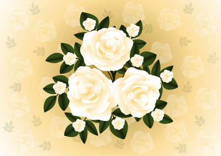 Illustration of abstract tea roses bunch with background Vector