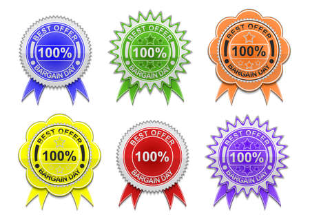 Illustration of sale labels collection with ribbons isolated