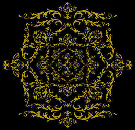 Illustration of abstract floral ornament in golden color on black background Vector