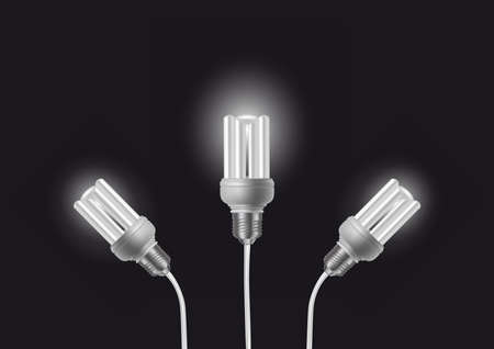 kilowatt: Illustration of energy saving light bulbs with cords on dark background Illustration