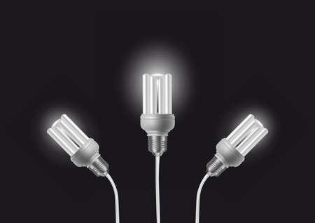 economise: Illustration of energy saving light bulbs with cords on dark background Illustration