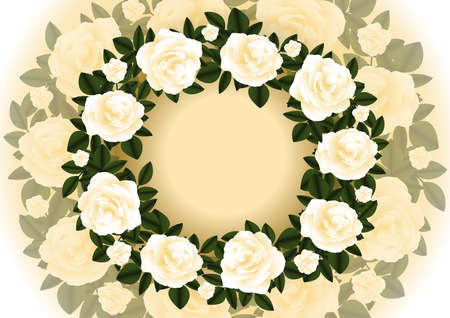 Illustration of abstract tea roses wreath with background