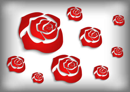 Illustration of abstract paper cutout red roses on grey background
