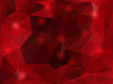 Illustration of triangle mosaic background in red colors