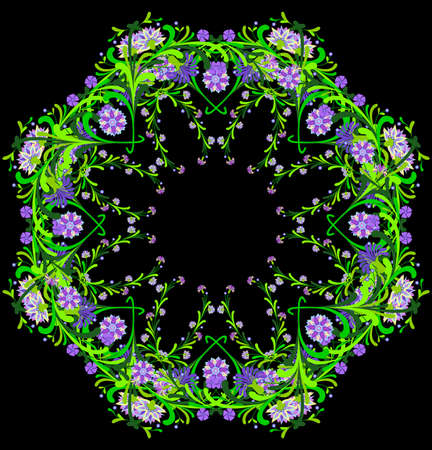 Illustration of abstract  floral ornament in lilac and green colors on black background Illustration