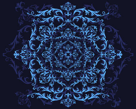 Illustration of abstract floral ornament in blue colors on black background Vector