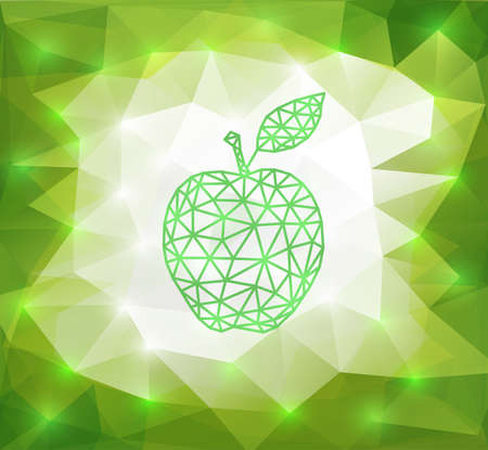 transparence: Illustration of abstract triangle apple with background in green and white colors