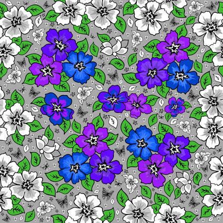 Illustration of seamless floral background in lilac, blue, green and grey colours