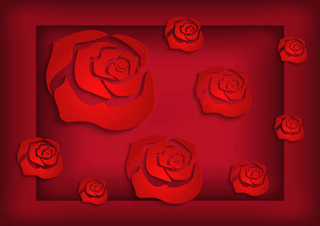 Illustration of abstract paper cutout red roses  Illustration