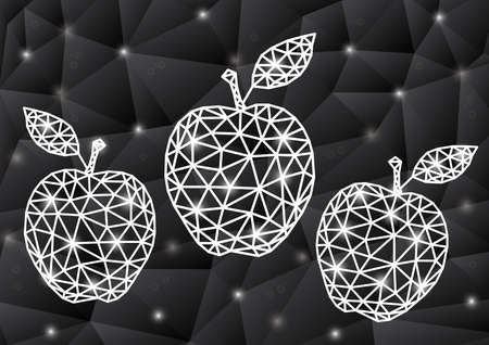 Illustration of abstract triangle apple with background in grey colors Illustration