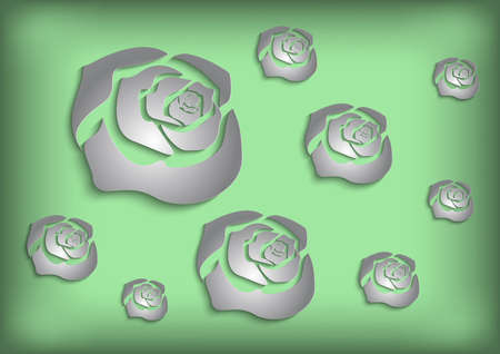 Illustration of abstract paper cutout grey roses on green background