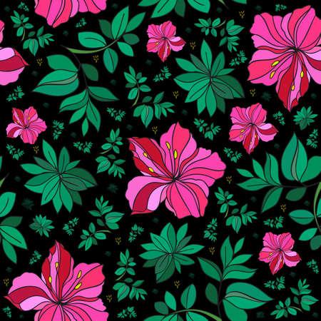 laurier rose: Illustration de Seamless abstract floral background dans des couleurs rose, vert et noir