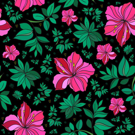 oleander: Illustration of seamless abstract floral background in pink, green and black colors