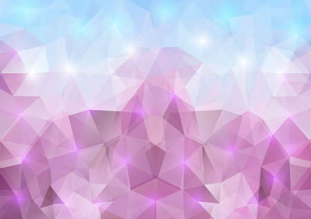 Illustration of triangle mosaic background in lilac and blue colors