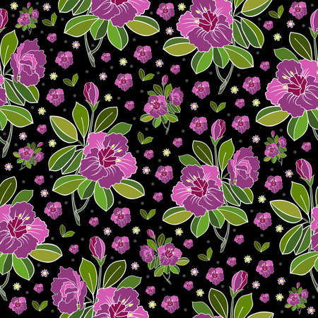 sprig: Illustration of seamless abstract floral background in pink, lilac, green and black colors