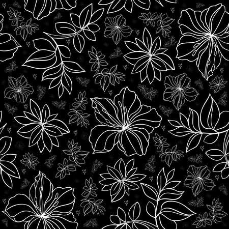 laurier rose: Illustration de motif floral transparente dans des couleurs noires et blanches Illustration