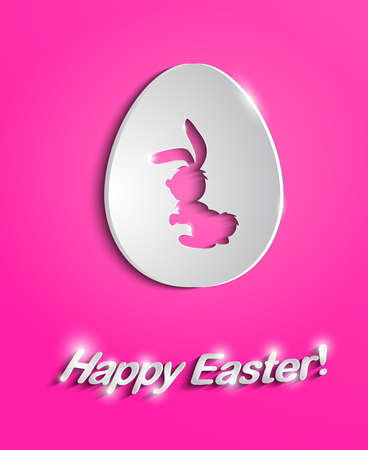 Illustration of easter paper egg with bunny cutout Vector