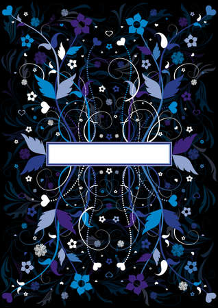 Illustration of abstract floral background with banner