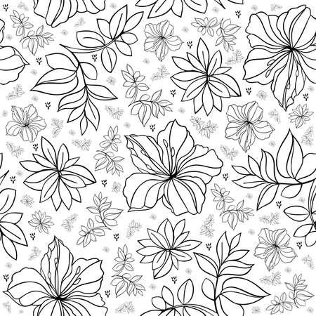 laurier rose: Illustration de motif floral dans des couleurs noires et blanches
