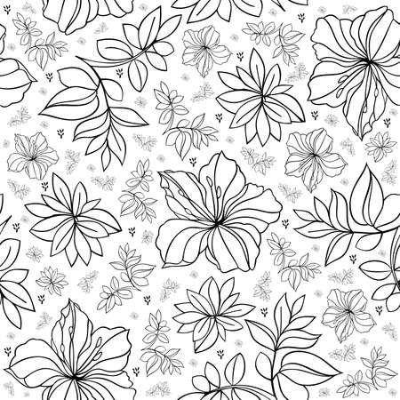 Illustration of seamless  floral pattern in black and white colors
