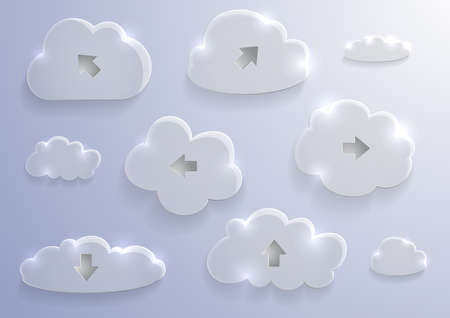 Illustration of glass clouds collection with arrows on sky background Illustration