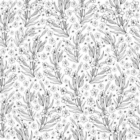 sprig: Illustration of seamless floral pattern in black and white colors isolated Illustration