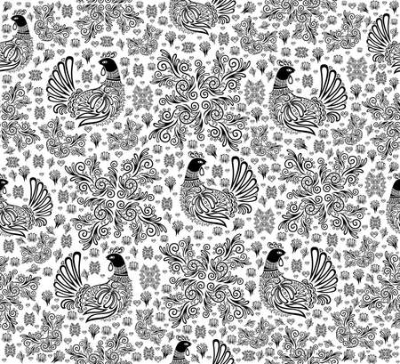 sitter: Illustration of abstract seamless pattern with birds and floral ornament