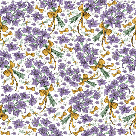 Illustration of seamless floral pattern from lilies bouquets with bows isolated