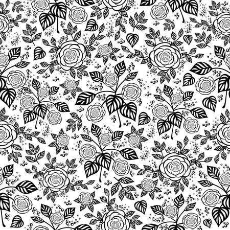 Illustration of seamless  floral background with roses and leaves in black and white colors