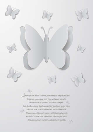Illustration of abstract background with paper cutout butterflies