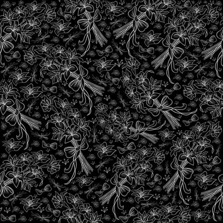Illustration of seamless floral pattern from lilies bouquets with bows in white, grey and black colors Illustration
