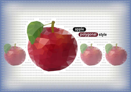 transparence: Illustration of abstract red polygonal apples on dotted background