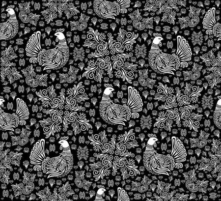 sitter: Illustration of abstract seamless pattern with birds and floral ornament in white and black colors Illustration
