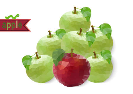 Illustration of abstract red and green polygonal apples with worm isolated Illustration