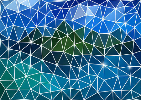 Illustration of colorful triangle mosaic background with white outline Illustration
