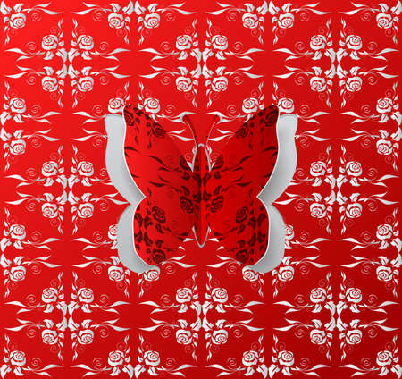 Illustration of abstract floral background with paper butterfly cutout in red, white and grey colors