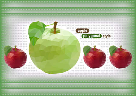 transparence: Illustration of abstract red and green polygonal apples on dotted background