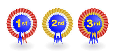 Illustration of 1st, 2nd and 3rd place award ribbons isolated  Illustration