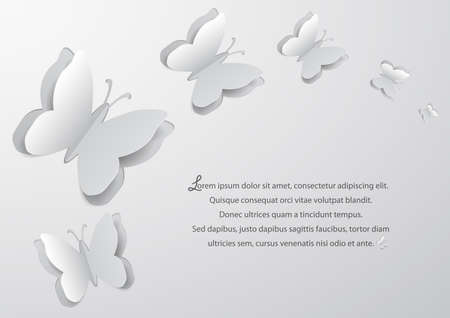 Illustration of abstract background with paper butterfly cutouts