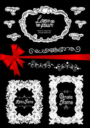 Illustration of design elements, ornate frames and bow in black, white and red colors Illustration