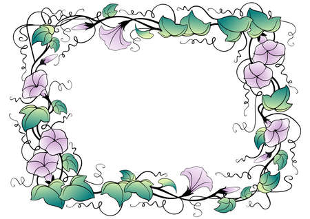 Illustration of abstract floral frame with leaves and bindweed flowers isolated