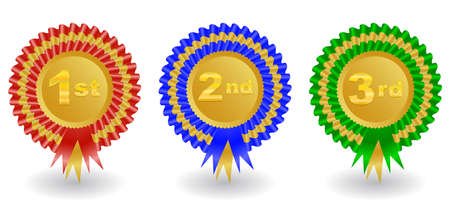 Illustration of 1st, 2nd and 3rd place colorful award ribbons isolated