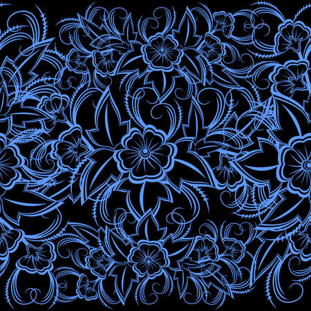 Illustration of seamless floral pattern in blue and black colors