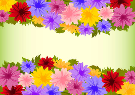colofrul: Illustration of floral background with borders from colofrul asters