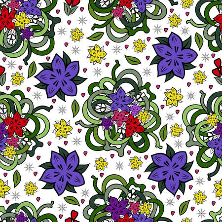 Illustration of seamless colorful floral pattern isolated