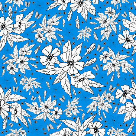 Illustration of seamless floral pattern with butterflies in black, blue and white colors  Vector