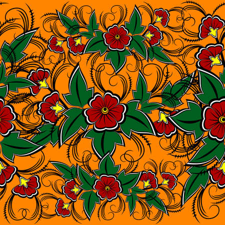 Illustration of seamless floral pattern in red, green and orange colors Illustration