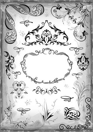 Illustration of design elements, ornate frame and floral corners in black color on grunge background